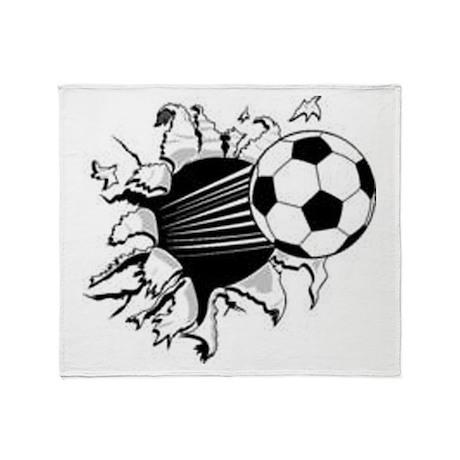 Flying Soccer Ball Throw Blanket