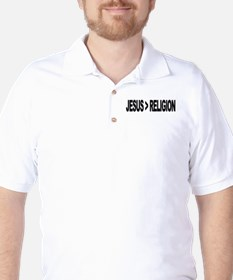 Jesus Greater Than Religion Golf Shirt