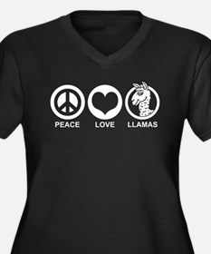 Peace Love Llama Women's Plus Size V-Neck Dark T-S