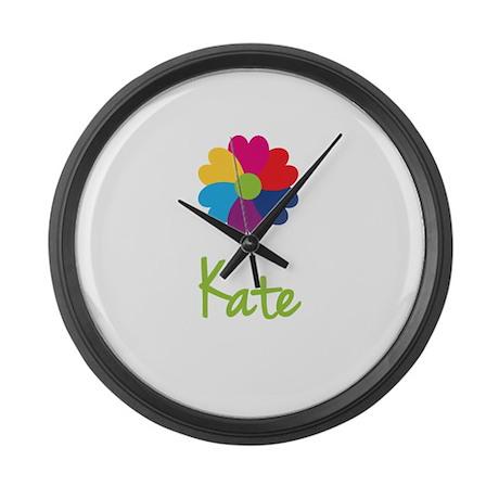 Kate Valentine Flower Large Wall Clock