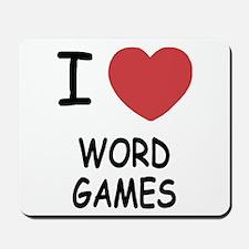 I heart word games Mousepad