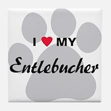 I Love My Entlebucher Tile Coaster