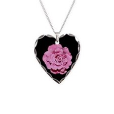 Pale Pink Rose Heart Necklace