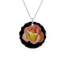 Orange Yellow Rose Necklace Round