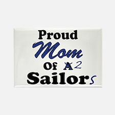 Proud Mom 2 Sailors Rectangle Magnet