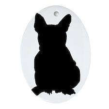 French Bulldog Silhouette Ornament (Oval)