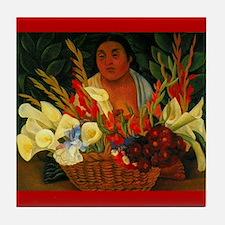 Diego Rivera Vendedora de Flores Art Tile Coaster
