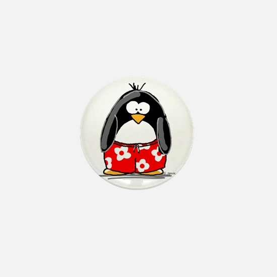 Swim Trunk Penguin Mini Button