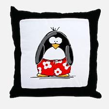 Swim Trunk Penguin Throw Pillow
