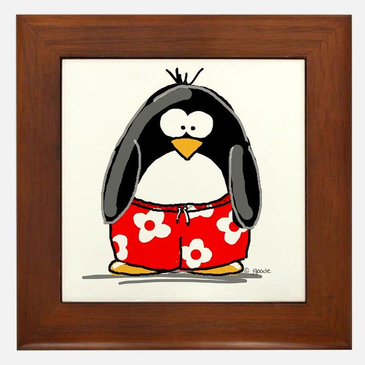 Swim Trunk Penguin Framed Tile