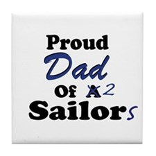 Proud Dad 2 Sailors Tile Coaster