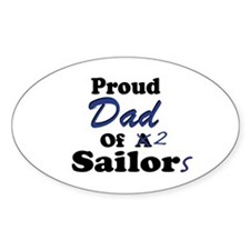 Proud Dad 2 Sailors Oval Decal
