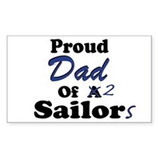 Proud Dad 2 Sailors Rectangle Decal