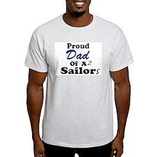 Proud Dad 2 Sailors Ash Grey T-Shirt