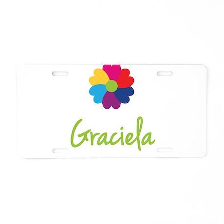 Graciela Valentine Flower Aluminum License Plate