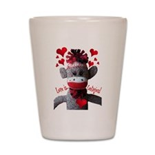 Love is Contagious Sock Monkey Valentine Shot Glas