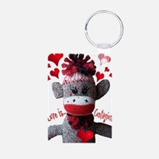 Love is Contagious Sock Monkey Valentine Keychains