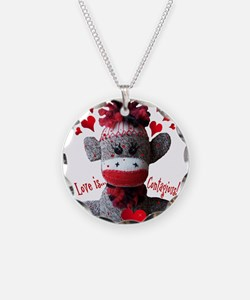 Love is Contagious Sock Monkey Valentine Necklace