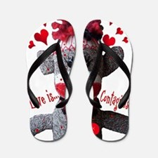 Love is Contagious Sock Monkey Valentine Flip Flop
