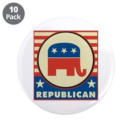 "Retro Republican 3.5"" Button (10 pack)"