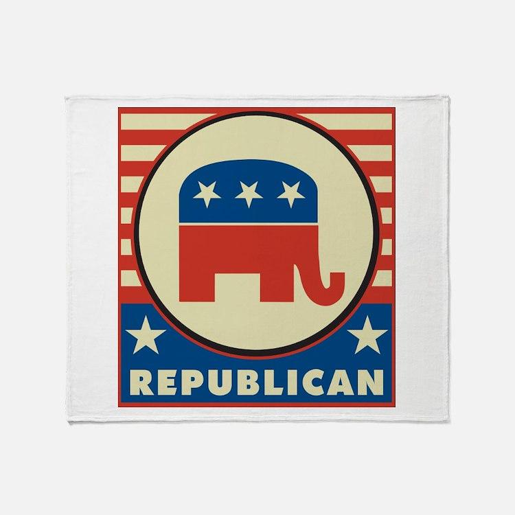 Retro Republican Throw Blanket