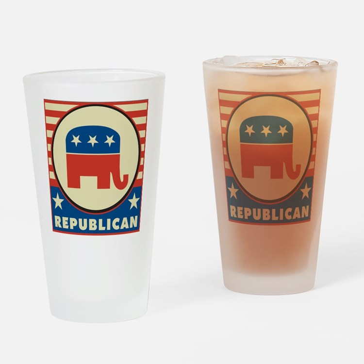 Retro Republican Drinking Glass