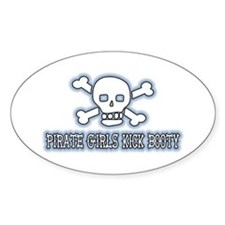 Pirate Girls Kick Booty Oval Decal