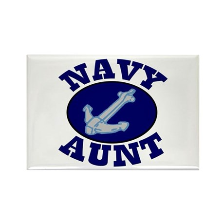 Navy Aunt Rectangle Magnet