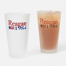 Reagan 1984 -Distressed Logo Drinking Glass