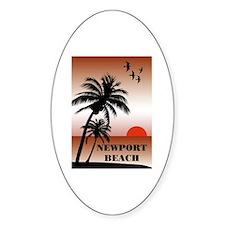 Newport Beach Sunset Oval Decal