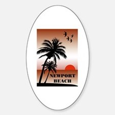 Newport Beach Sunset Oval Decal