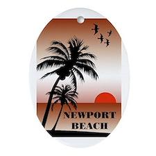 Newport Beach Sunset Oval Ornament