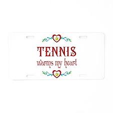 Tennis Warms My Heart Aluminum License Plate