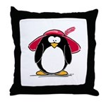 Red Hat penguin Throw Pillow