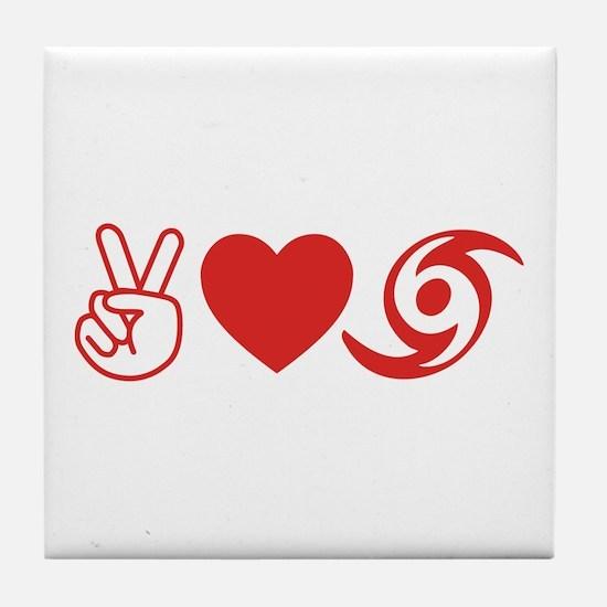 Peace Love Hurricane Survivor Tile Coaster