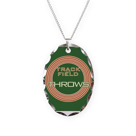 Track and Field Throws Necklace Oval Charm