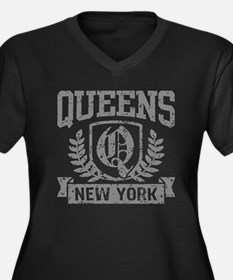 Queens NY Women's Plus Size V-Neck Dark T-Shirt