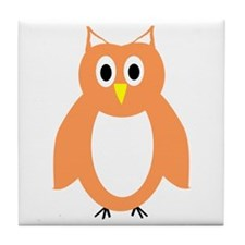 Orange And White Owl Design Tile Coaster