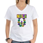 NOLA Mardi Gras Women's V-Neck T-Shirt