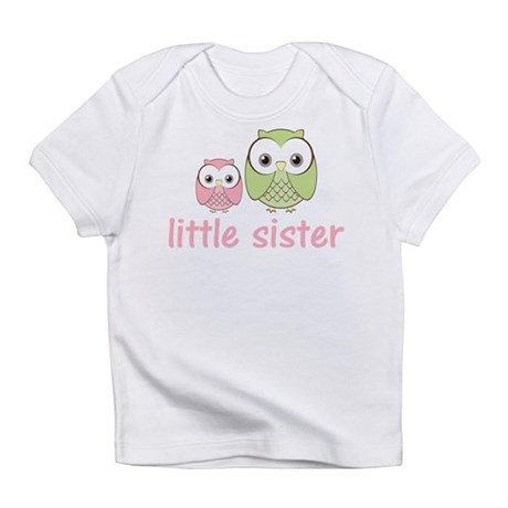 Pink/Green Little Sister Owl Infant T-Shirt