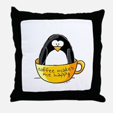 Coffee penguin Throw Pillow