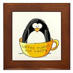 Coffee penguin Framed Tile