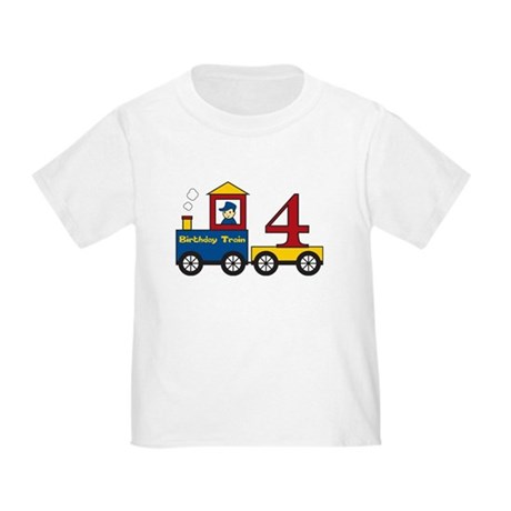 4 Year Old Birthday Train Toddler T-Shirt