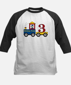 3 Year Old Birthday Train Kids Baseball Jersey