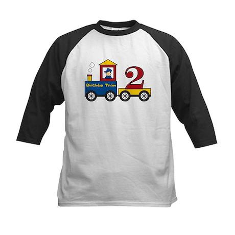 2 Year Old Birthday Train Kids Baseball Jersey