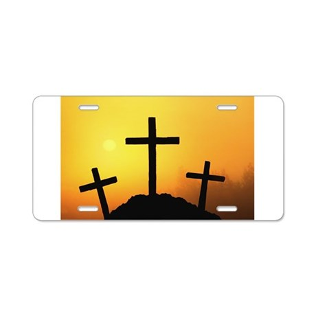 Crosses Aluminum License Plate
