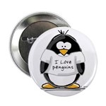 I Love Penguins penguin Button