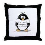 I Love Penguins penguin Throw Pillow