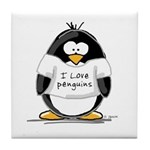 I Love Penguins penguin Tile Coaster