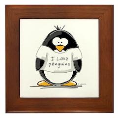 I Love Penguins penguin Framed Tile